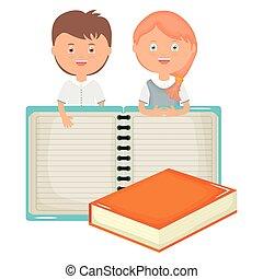 かわいい, わずかしか, 生徒, 恋人, ノート, 本