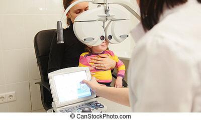 かわいい, わずかしか, 眼科医, mommy, 相談, 女の子