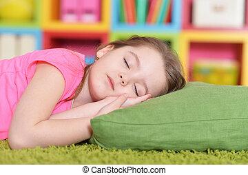 かわいい, わずかしか, 睡眠, 緑, 女の子, カーペット