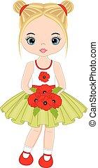かわいい, わずかしか, 花束, ベクトル, ケシ, 女の子