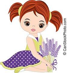 かわいい, わずかしか, 花束, ラベンダー, ベクトル, 女の子