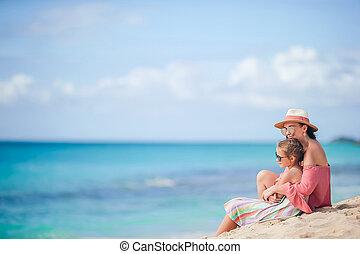 かわいい, わずかしか, 若い, トロピカル, 母, 女の子, 浜