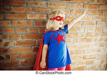 かわいい, わずかしか, 英雄, concept., に対して, wall., superhero, 女の子, 極度, れんが