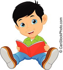 かわいい, わずかしか, 読む本, 男の子