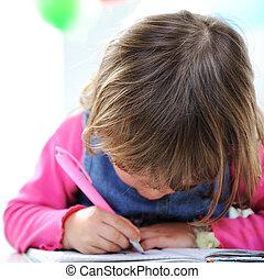 かわいい, わずかしか, 鉛筆, ペーパー, ブロンド, 赤ん坊, 女の子, 図画
