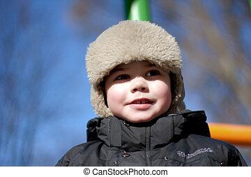 かわいい, わずかしか, boy., 冬, portret
