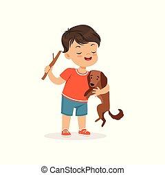 かわいい, わずかしか, bully, 男の子, 子供, からかう, 犬, イラスト, 朗らかである, ひどく, ベクトル, 行動, 子供, ギャング