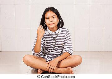 かわいい, アジア人, 医者, 女の子, ∥で∥, 聴診器