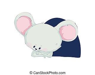 かわいい, イラスト, バックグラウンド。, ベクトル, 白, マウス, 漫画, mink.