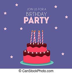 かわいい, イラスト, birthday, 招待, パーティー, cake.