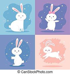 かわいい, ウサギ, セット, アイコン