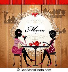 かわいい, カフェ, デザイン, カード, メニュー