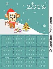かわいい, カレンダー, 2016, サル