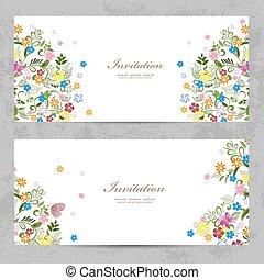 かわいい, カード, デザイン, 招待, 花, あなたの