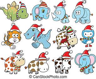 かわいい, クリスマスの 休日, 冬, セット