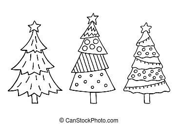 かわいい, クリスマスツリー, セット