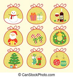 かわいい, クリスマス, アイコン, セット