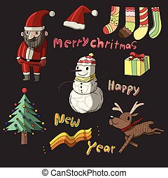 かわいい, クリスマス, コレクション, セット
