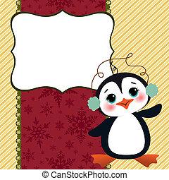 かわいい, クリスマス, 新年, 葉書, テンプレート