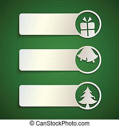 かわいい, クリスマス, 旗, セット