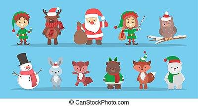 かわいい, クリスマス, 特徴, 祝う, a, 休日, set.