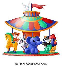 かわいい, クローズアップ, 動物, illustration., 面白い, 乗車, 白, 隔離された, バックグラウンド。, ベクトル, 回転木馬, merry-go-round., 活気づけられた, 漫画