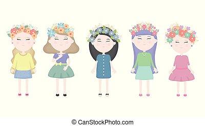 かわいい, グループ, 王冠, 女の子, 毛, 特徴, 花