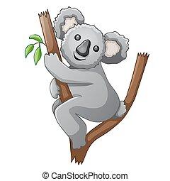 かわいい, コアラ, 木, 漫画
