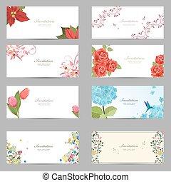 かわいい, コレクション, デザイン, 招待, カード, 花, あなたの