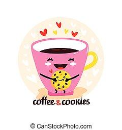 かわいい, コーヒーカップ, kawaii