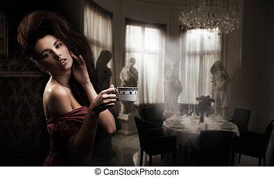 かわいい, コーヒー, ブルネット, カップ