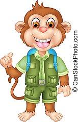 かわいい, サル, の上, ポーズを取る, 微笑, 漫画, 親指