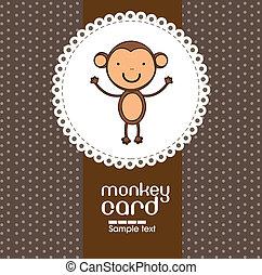 かわいい, サル, カード