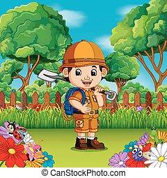 かわいい, シャベル, 庭, 男の子, 花, 冒険, 保有物