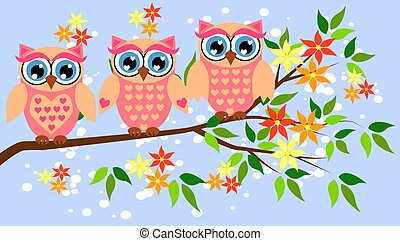かわいい, シャワー, girls., owls., パーティー, 女の赤ん坊