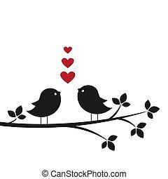 かわいい, シルエット, ラブ羽の鳥
