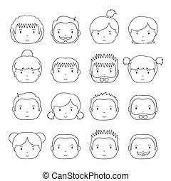 かわいい, スケッチ, セット, オフィスの人々, businesswoman., 最新流行である, style., design., 面白い, シルエット, いたずら書き, pictogram, あなたの, avatar., 引かれる, icons., 手, コレクション, 線, 漫画, illustration., ベクトル, businessman., 顔