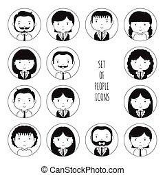 かわいい, スケッチ, セット, オフィス, pictogram, businesswoman., 最新流行である, モノクローム, style., design., 面白い, シルエット, いたずら書き, 人々, あなたの, avatar., 引かれる, icons., 手, コレクション, 漫画, illustration., ベクトル, businessman., 顔