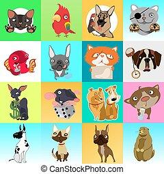 かわいい, スケッチ, セット, parrot., fish, 現代, デザイン, 華やか, close-up., texture., ステッカー, マウス, カード, seamless, 主題, pets., 犬, 面白い, ポスター, ネコ, 漫画, カード, 挨拶, ハムスター, ベクトル, ∥あるいは∥
