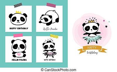 かわいい, スタイル, カラフルである, 単純である, コレクション, パンダ くま, ポスター, イラスト, カード