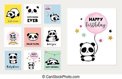 かわいい, スタイル, カラフルである, 単純である, 挨拶, コレクション, パンダ, birthday, 熊, ポスター, イラスト, カード