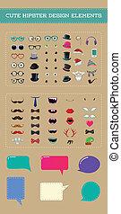 かわいい, スタイル, セット, 要素, 情報通, デザイン