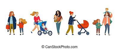 かわいい, スタイル, セット, illustration., 母, 隔離された, 平ら, バックグラウンド。, ベクトル, 特徴, children., 白, 漫画, 幸せ