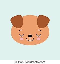 かわいい, スタイル, illustration., 平ら, 睡眠, 子犬, ベクトル, 図画, 漫画, kids.