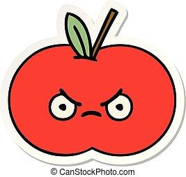 かわいい, ステッカー, アップル, 赤, 漫画