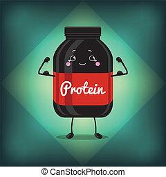 かわいい, スポーツ, ビンの王冠, ジャー, タンパク質, 缶, label., 黒, gainer, 栄養