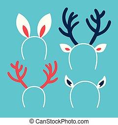 かわいい, セット, の, クリスマス, ヘッドバンド, 別れなさい, 冬 休日, outfit.
