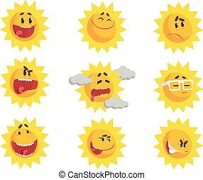 かわいい, セット, カラフルである, 太陽の表面, ベクトル, 特徴, イラスト, 感情的, 漫画, emojis.