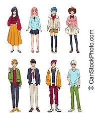 かわいい, セット, カラフルである, collection., 女の子, イラスト, 手, characters., ...