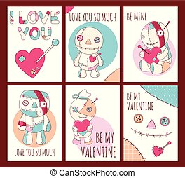 かわいい, セット, バレンタイン, ブードゥー教, 旗, 日, 人形